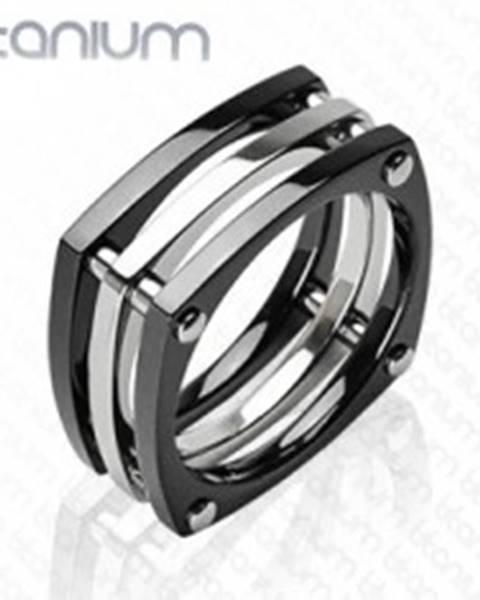 Titánový prsteň - tri štvorce spojené nitmi - Veľkosť: 58 mm