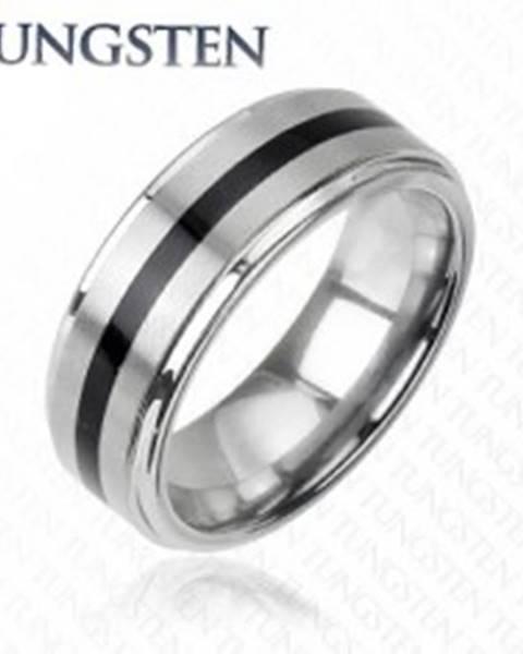 ed7f217f2 Wolfrámový prsteň striebornej farby - čierny stredový pás H10.1 - Veľkosť:  49 mm