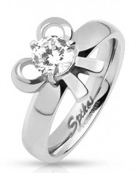 Zásnubný oceľový prsteň s mašličkou a okrúhlym kamienkom  SP43.18 - Veľkosť: 49 mm