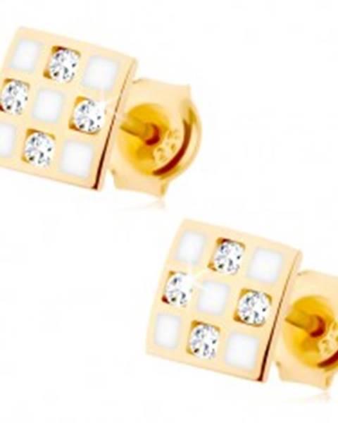 5073c8d21 Zlaté náušnice 375 - štvorček so šachovnicou, číre zirkóniky, biela glazúra  GG68.31
