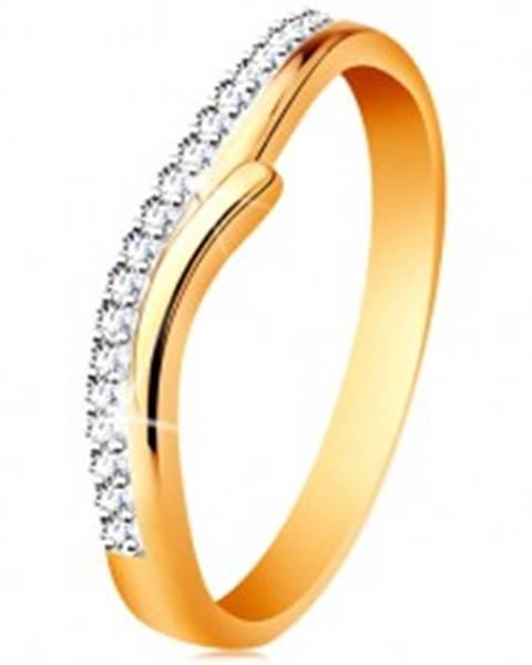 Zlatý 14K prsteň s rozdelenými dvojfarebnými ramenami, číre zirkóny GG190.88/97 - Veľkosť: 49 mm