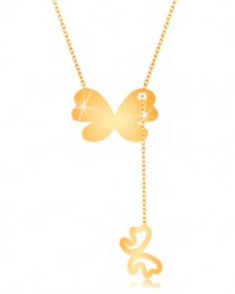 Zlatý 9K náhrdelník - väčší motýľ s visiacim obrysom menšieho motýlika GG194.11