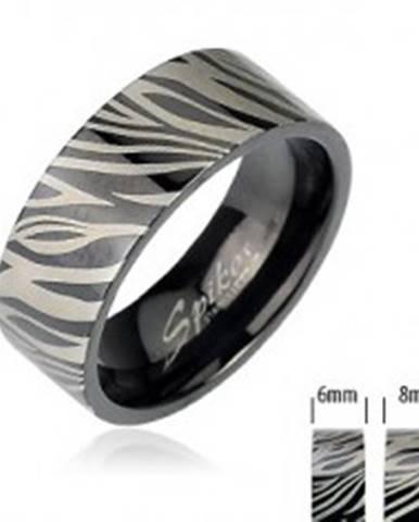 Oceľový prsteň - čierna zebra J1.4/J2.4 - Veľkosť: 49 mm
