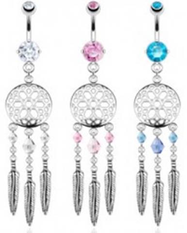 Piercing do pupka z ocele - lapač snov, farebné korálky a oceľové pierka SP43.03 - Farba zirkónu: Aqua modrá - Q