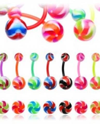 Piercing do pupku - farebná vrtuľka I17.08/14 - Farba piercing: Červená