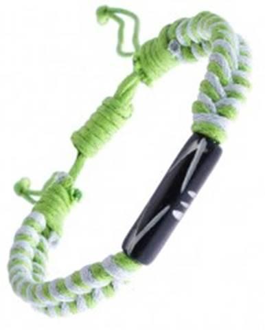 Pletený náramok zo šnúrok - bielo-zelený, vyrezávaný valček Y52.02