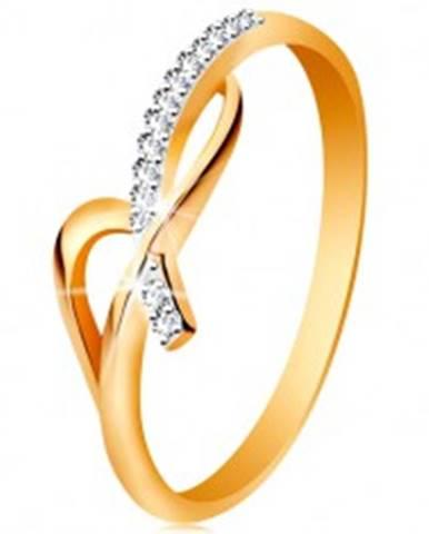 Prsteň v 14K zlate - asymetricky prepletené ramená, okrúhle číre zirkóny GG189.73/79 - Veľkosť: 49 mm