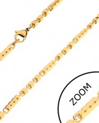 Retiazka z chirurgickej ocele zlatej farby, dlhšie a kratšie hranaté články, 3 mm Z27.12