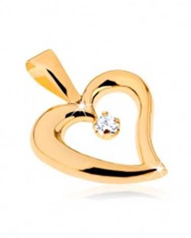 Zlatý prívesok 375 - lesklý obrys nepravidelného srdca, číry zirkón v strede GG32.08