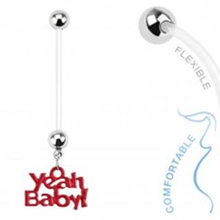 "Bioflex piercing do pupku pre tehotné ženy, guličky, nápis ""Yeah Baby!"""