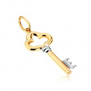 Dvojfarebný prívesok z 9K zlata - lesklý ozdobne vyrezávaný kľúč