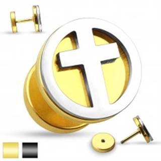 Falošný oceľový plug do ucha - vyrezávaný latinský krížik v striebornom odtieni - Farba piercing: Čierna