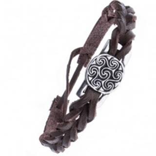 Hnedý kožený náramok pletený - známka, keltský motív slnka