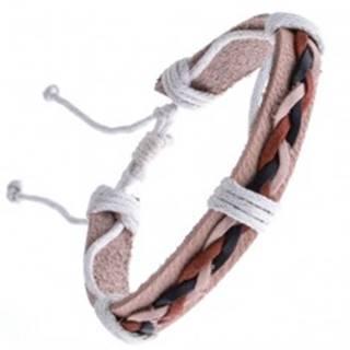Kožený náramok béžový – tri spletené šnúrky Y52.15