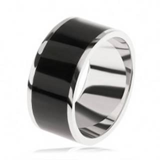 Lesklá obrúčka zo striebra 925, čierny dekoratívny pás uprostred S82.04 - Veľkosť: 54 mm