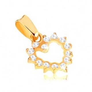Ligotavý zlatý prívesok 375 - pravidelná kontúra zirkónového srdca