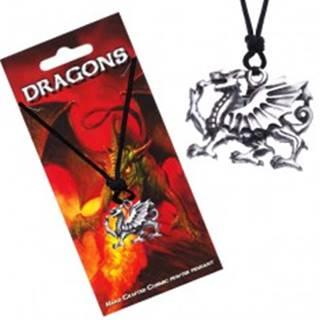 Náhrdelník so šnúrkou, dutý prívesok, profil draka Y54.09