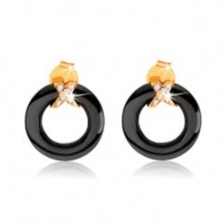 Náušnice zo zlata 375, čierny obrys kruhu z keramiky, prekrížené pásy so zirkónmi