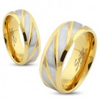 Oceľová obrúčka zlatej farby, šikmé pásy v striebornom odtieni, 6 mm SP44.31 - Veľkosť: 49 mm