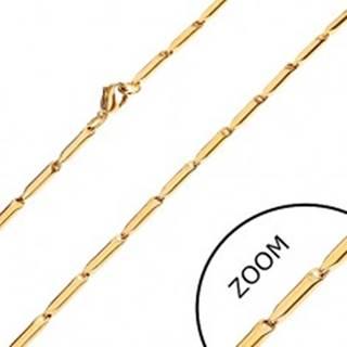 Oceľová retiazka v zlatom odtieni, lesklé podlhovasté valčeky, 3 mm