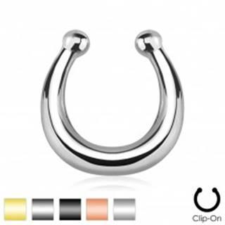 Oceľový fake piercing do nosa, lesklá podkova ukončená guličkami - Farba piercing: Čierna