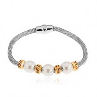 Oceľový náramok, perleťové korálky, kolieska v zlatej farbe, sieťovaná retiazka