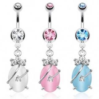 Oceľový piercing do bruška, farebné zirkóny a kameň mačacie oko - Farba zirkónu: Aqua modrá - Q