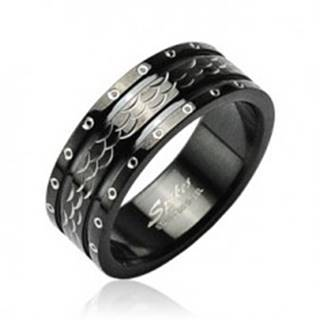 Oceľový prsteň vlnky - krúžky po obvode - Veľkosť: 58 mm