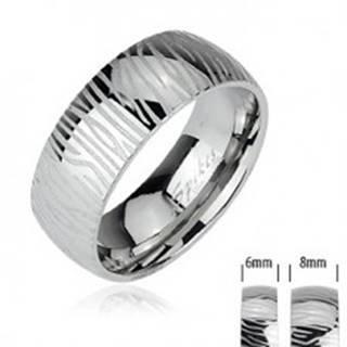 Oceľový prsteň - vzor zebra - Veľkosť: 49 mm