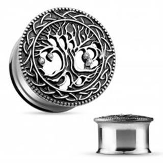 Oceľový tunel do ucha, vyrezávaný košatý strom, čierna patina, číre zirkóny - Hrúbka: 10 mm