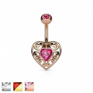 Piercing do bruška z chirurgickej ocele, vyrezávané srdce so zirkónom v strede - Farba piercing: Medená