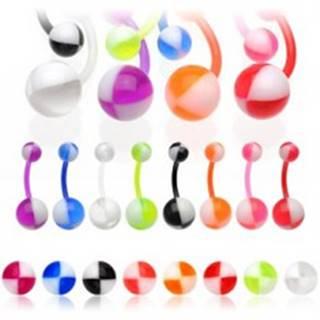 Piercing do pupka - dvojfarebný Ball - Farba piercing: Červená