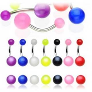 Piercing do pupka - farebná gulička s dúhovým efektom - Farba piercing: Biela