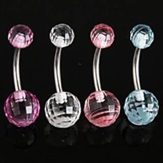 Piercing do pupku, chirurgická oceľ a akryl - Disco Ball N31.19 - Farba piercing: Aqua