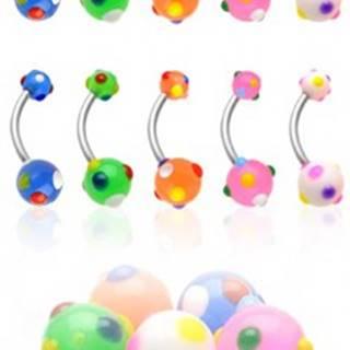 Piercing do pupku viacfarebné bodky N24.3 - Farba piercing: Biela
