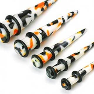 Plug do ucha biely, čierno-oranžové škvrny - Hrúbka piercingu: 10 mm