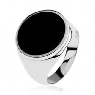 Prsteň zo striebra 925 s čiernym glazúrovaným kruhom SP37.26 - Veľkosť: 54 mm