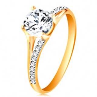 Prsteň zo zlata 585 - rozdvojené ramená, vystúpený okrúhly zirkón čírej farby GG196.08/15 - Veľkosť: 49 mm