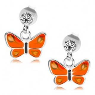 Puzetové náušnice, striebro 925, číry krištáľ, motýľ s oranžovými krídlami