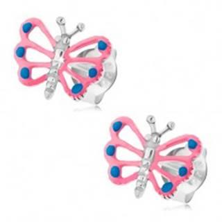 Puzetové náušnice, striebro 925, motýlik s ružovými krídlami, výrezy