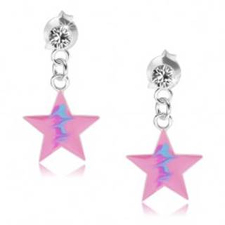Puzetové náušnice, striebro 925, ružová hviezda, modrý cik-cak vzor, krištáľ