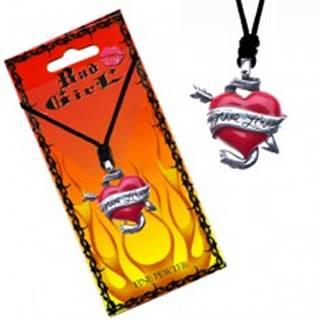 Šnúrkový náhrdelník - farebné srdce a šíp, stuha TRUE LOVE
