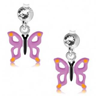 Strieborné 925 náušnice, číry krištálik, motýľ s fialovými krídlami a výrezmi