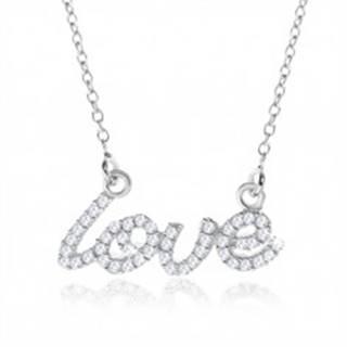"""Strieborný náhrdelník 925, ozdobný nápis """"love"""" z čírych zirkónov"""