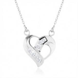 Strieborný náhrdelník 925, prívesok srdca - zatočené línie, číre zirkóny