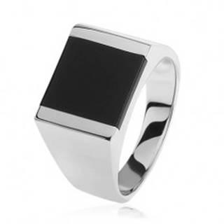 Strieborný prsteň 925, zrkadlovolesklé ramená, štvorec s čiernou glazúrou S82.13 - Veľkosť: 54 mm