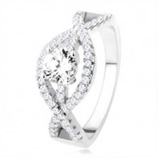 Strieborný prsteň 925, zvlnené zirkónové línie, okrúhly číry kameň - Veľkosť: 49 mm
