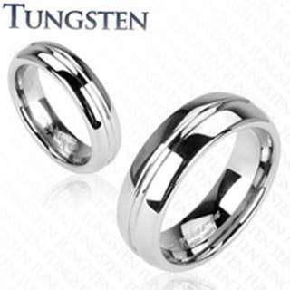 Tungstenový prsteň, vrytý stredový pruh J3.6 - Veľkosť: 49 mm