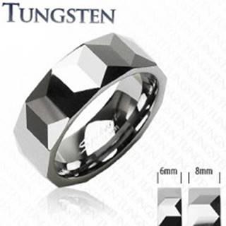 Tungstenový prsteň - vzor hranolov - Veľkosť: 49 mm