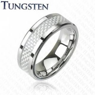 Wolfrámový prsteň - vzor vlákno J3.4 - Veľkosť: 49 mm